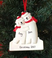 Personalised Polar Bear Couple - Christmas Keepsake - Personal Xmas Gift